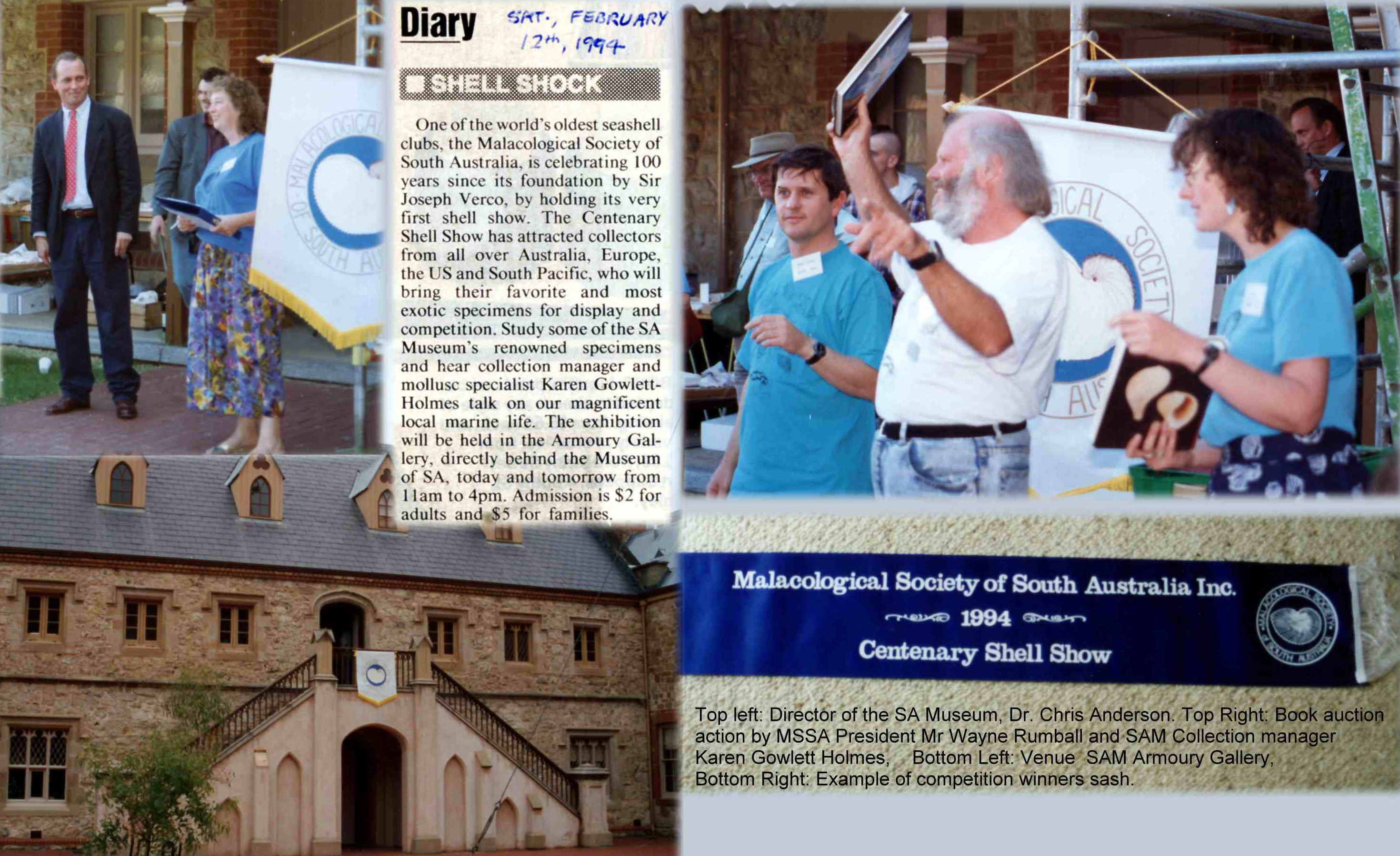 collage of 1994 centenary shell show, courtesy of Peter Hunt