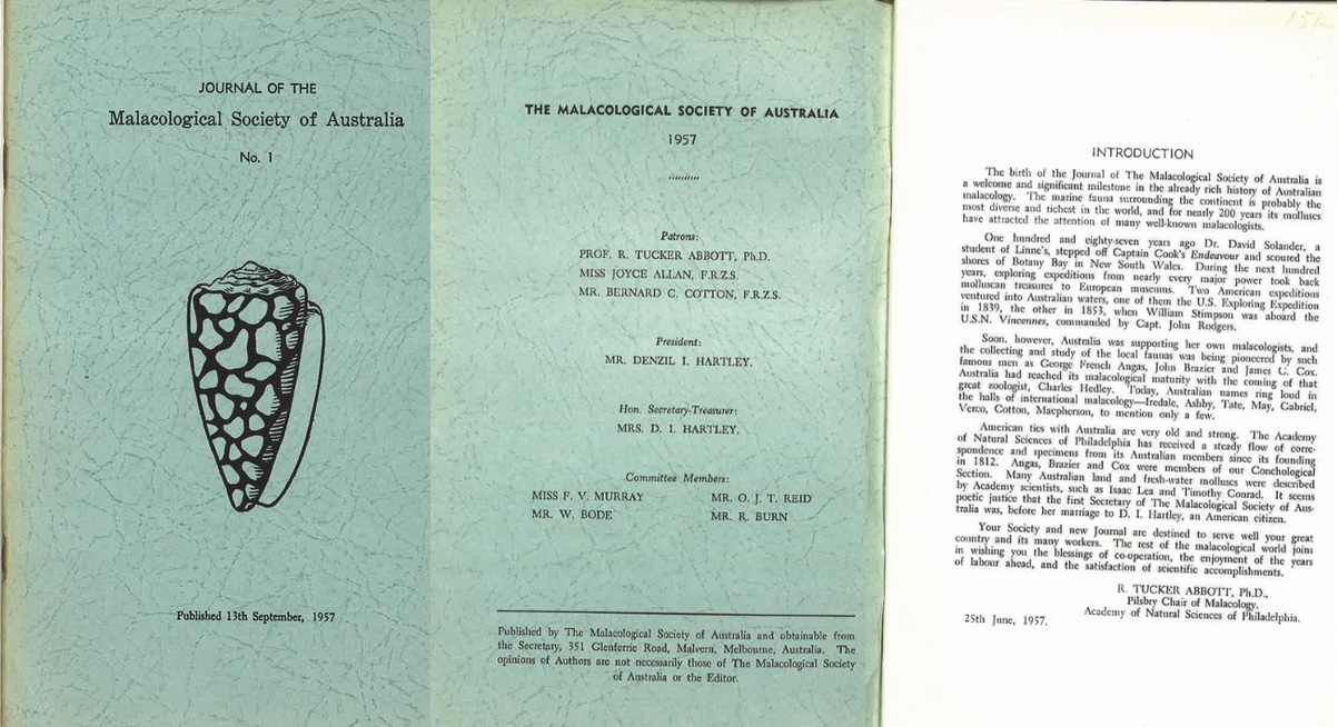 Cover of the first issue of The Journal of the Malacological Society of Australia