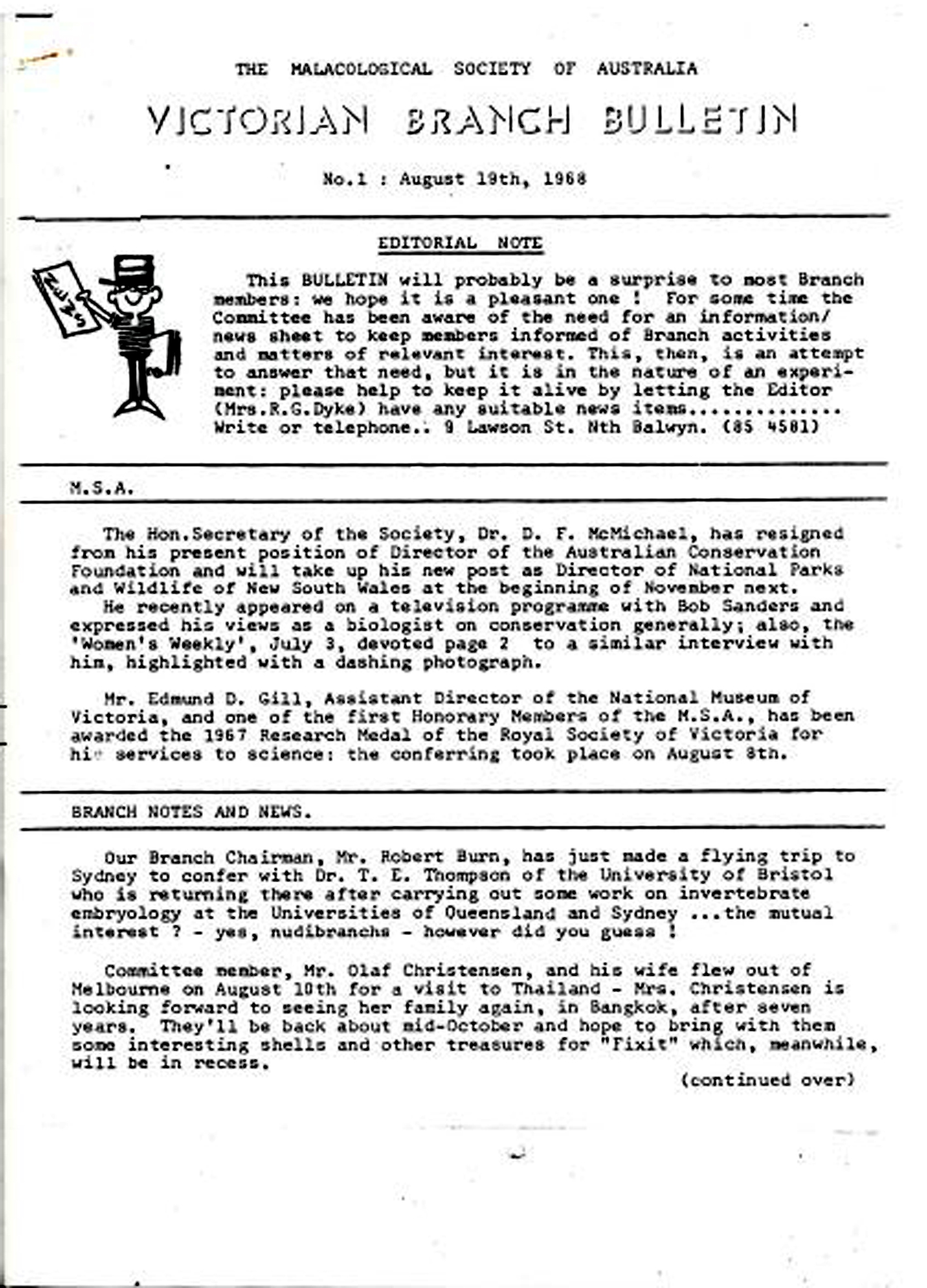 First page of the first issue of the MSA Victorian Branch Bulletin in 1968